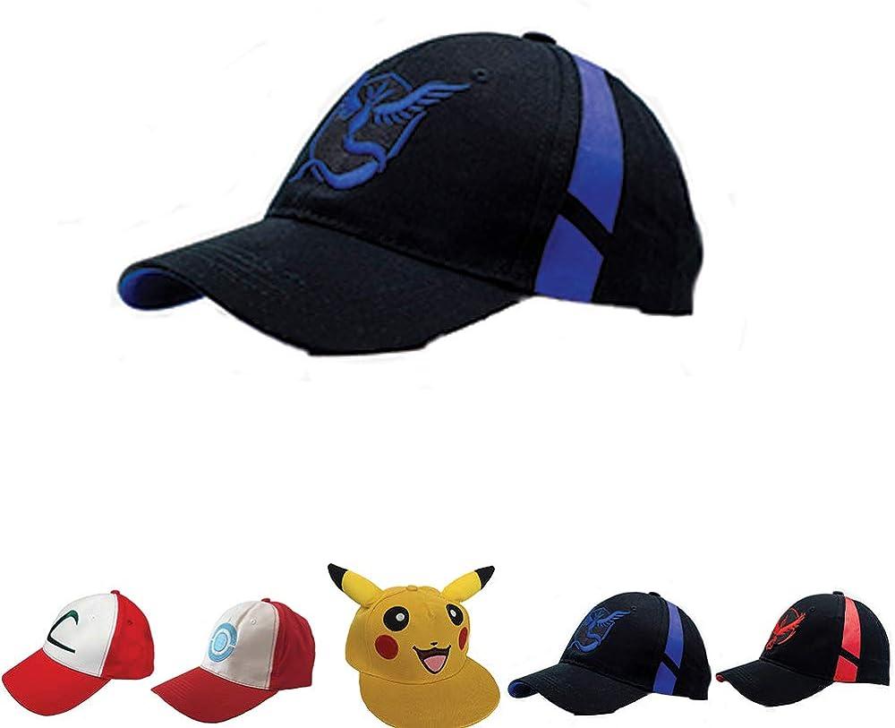 Embroidered Pokemon Go Hats Generation 2 Team Mystic-Valor-Instinct-Pikachu-Ash USA