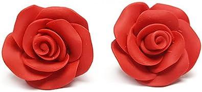 CHADADA Classic Porcelain Two-Tone Rose Post Stud Earrings