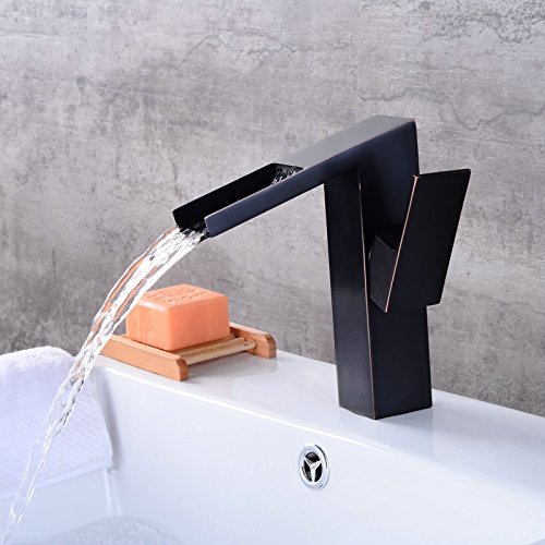 Makej European Square Basin Faucet Brass Brushed Black Kitchen Faucet Waterfall Single Handle Hole Deck Mounted Mixer Water Taps
