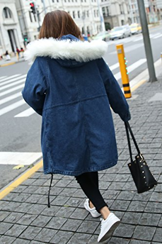 Was Section Hooded Xuanku Denim Jacket blue Jacket In Winter Long Big Cotton The Thin Thick Cashmere Collar Hair Cotton Plus FSXIq