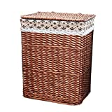 Home DecorAddition Diaper Toy Hamper Laundry Basket Rattan with Lid Cotton Lining Dirty Hamper Clothes Sundries Square Storage Basket (Color : B, Size : 37 26 48cm)