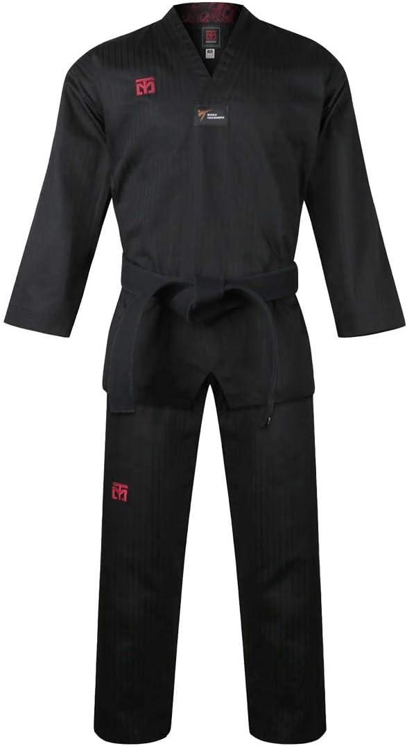 Mooto 韓国 テコンドー BS4.5 カラーユニフォーム 3色 (ブラック、レッド、ブルー) TKD MMA 格闘技 空手 ハプキド柔道 柔術 柔術 1.黒 190(Height:190~199cm)(6.23~6.53ft)
