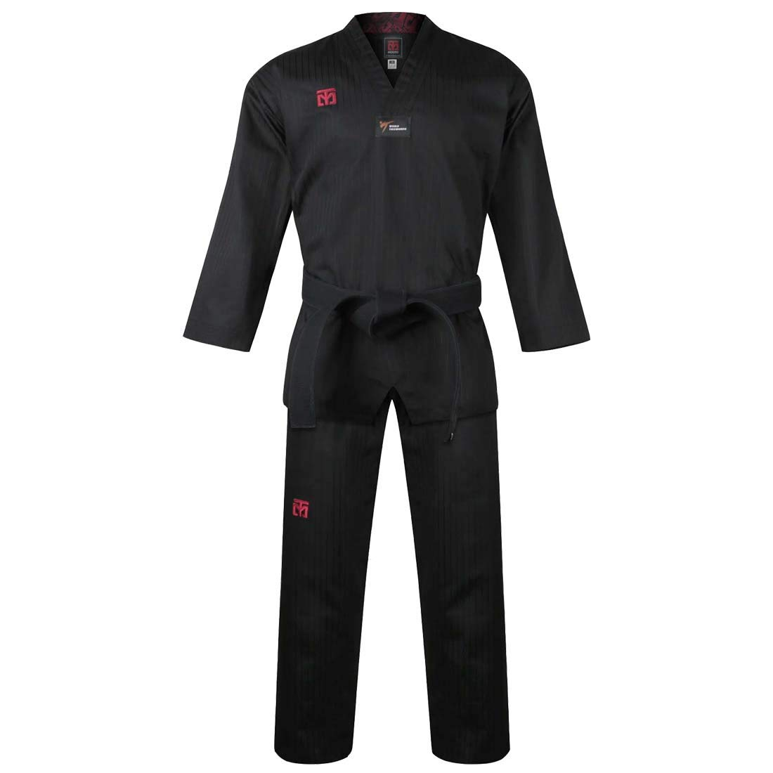 Mooto Korea Taekwondo BS4.5 Color Uniform 3 Colors(Black,Red,Blue) TKD MMA Martial Arts Karate Hapkido Judo JIU-Jitsu (170(Height:170~179cm)(5.58~5.87ft), 1.Black) by Mooto