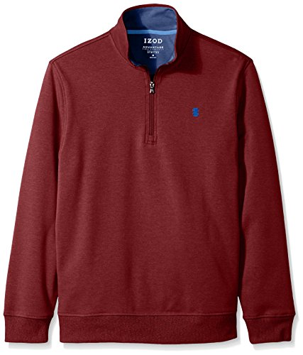 (IZOD Men's Advantage Performance Solid 1/4 Zip Fleece, Biking Red, Large)