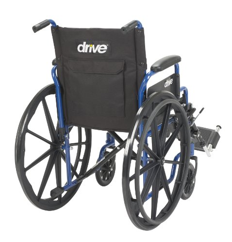Drive Medical Blue Streak Wheelchair with Flip Back Desk Arms, Elevating Leg Rests, 20'' Seat by Drive Medical (Image #4)