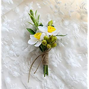 MOJUN Wedding Flower Narcissus Groom Groomsmen Brooch Boutonniere Simulation Narcissus 30