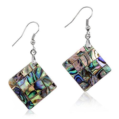 PammyJ Silvertone Green Abalone Square Dangle Earrings