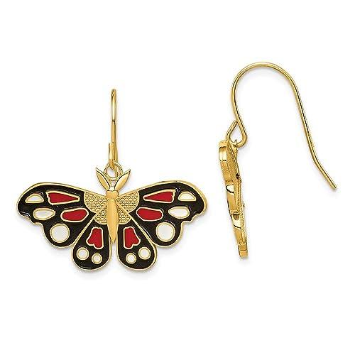 31b2eb73ea56 arete colgantes de mariposa esmaltados en oro amarillo de 14 quilates