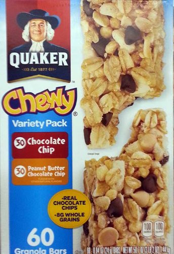 Chewy Granola Bar Calories (Quaker Chewy Variety Pack 60 Granola Bars (Peanut Butter and Chocolate Chip), 50.7OZ)