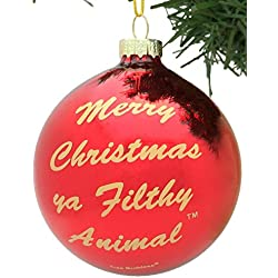 Merry Christmas Ya Filthy Animal Glass Christmas Ornament