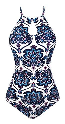 Angerella Halter One Piece Swimsuits For Women Swimwear Retro Vintage Print Bathing Suit Navy (Halter Vintage Tie)