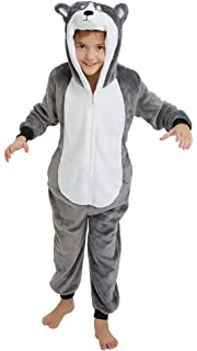Girls Boys Kids Onesies Dinosaur Unicorn Shark Dalmatian Rabbit Fox Tiger Pug Monkey Flamingo Llama Sheep Reindeer Donkey Deer Snowman Penguin Alien Childrens