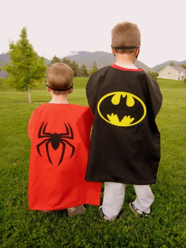 Reversible Spiderman Batman Superhero Cape Costume with Mask by Kidzescapes (Spiderman Reversible Costume)