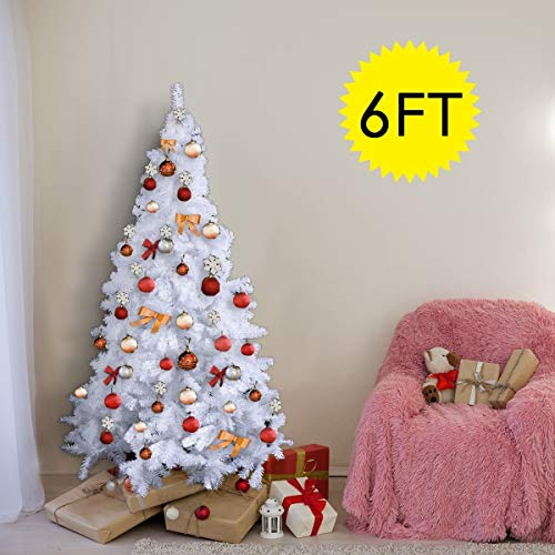 COSTWAY White Christmas Tree Xmas Traditional Indoor Artificial Decoration Tree (6FT (1.8M))