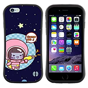 "Hypernova Slim Fit Dual Barniz Protector Caso Case Funda Para Apple (5.5 inches!!!) iPhone 6 Plus / 6S Plus ( 5.5 ) [Divertido gatito lindo del gato del espacio""]"