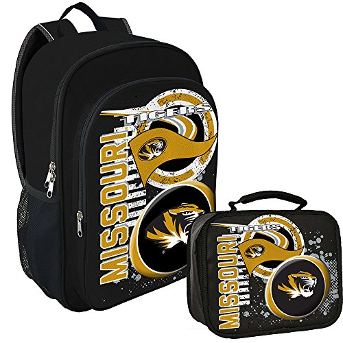 Amirshay, Inc. Missouri Tigers NCAA Back to School Essentials Backpack and Lunchbox -