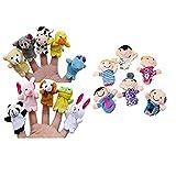 Naladoo Kid Toy Juguete Bebe 16 piezas Dedo Marionetas Animales Gente Familia Miembros Educativo Juguete