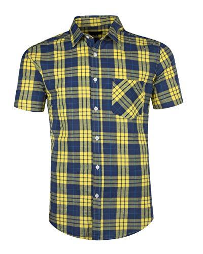 AVANZADA Men's Button Down Plaid Short Sleeve Work Casual Western Shirt-L Blue-Yellow