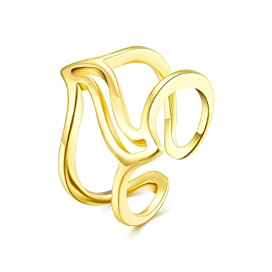 FJYOURIA Women's Open Double Line Ring 18ct Gold/Silver Plated Ring Thumb Rind Midi Knuckle Ring (18ct Yellow Gold) 2sOGabssQt