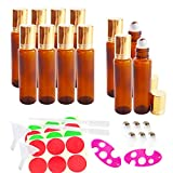 10x3x2x 12x 15ml Empty Amber Glass Roll-on Bottles, Sample Refillable Cosmetic Container for Essential Oil Perfume, Extra 3ml Dropper, Mini Funnel, Bottle Opener, 6 Roller Balls, 24 Pieces Labels