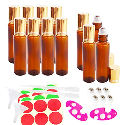 12x 15ml Empty Amber Glass Roll-on Bottles, Sample Refillable Cosmetic Container for Essential Oil Perfume, Extra 3ml Dropper, Mini Funnel, Bottle Opener, 6 Roller Balls, 24 Pieces ()