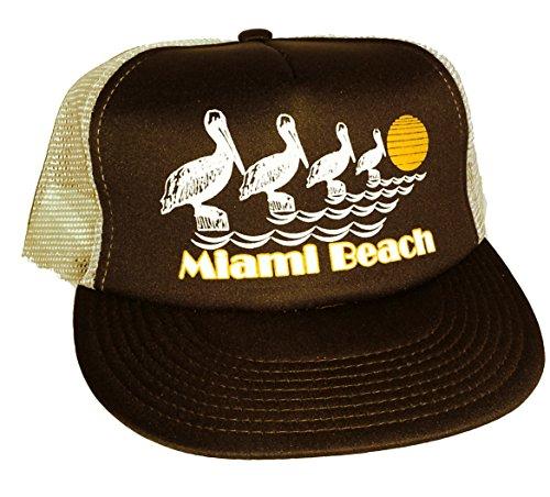 Miami Beach Pelicans Mesh Trucker Hat Cap 80's Snapback (Brown White)