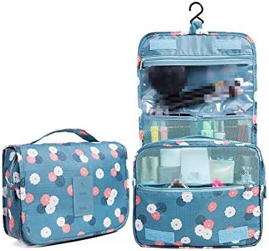 Huluwa Toiletry Bag Multifunction Cosmetic Bag Portable Makeup Pouch Waterproof Travel Hanging Organizer Bag for Women Girls, Blue Flowers