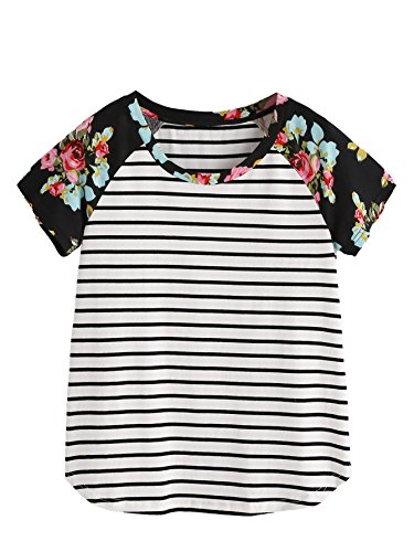Romwe Womens Floral Print Short Sleeve Tops Striped Casual Blouses T Shirt Black L