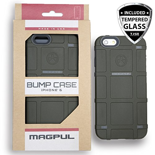 Apple iPhone 6/6s 4.7 Case, Magpul Industries Bump MAG486 Case Cover Polymer Retail Packaging for Apple iPhone 6/6s 4.7 + Tempered Glass Screen Protector (Green)