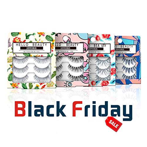c5ff0b06f9a JIMIRE False Eyelashes Demi Lashes Multipack - Natural Wispies Dramatic  Glam Eyelashes 4 Packs