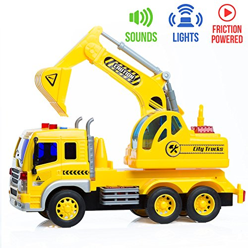 (Friction Powered Excavator Toy Truck with Lights & Sounds for)