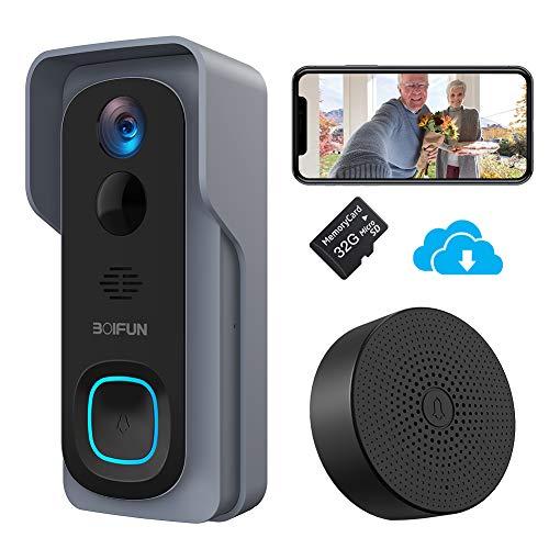 Timbre Inalámbrico con Cámara, BOIFUN HD 1080P Video Timbre Inteligente WiFi, IP66 Exterior Impermeable, Batería de…