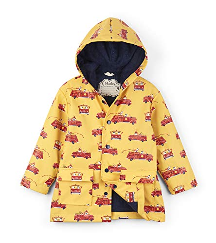 Hatley Boys' Little Printed Raincoats, Vintage Fire Trucks, 6 Years