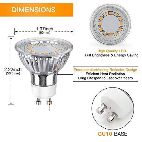 GU10 LED Bulbs 50W Halogen Equivalent, 3000K Warm White Track Light Bulbs, 3.5W 350Lumens, CRI>85, 120 Degree Beam Angle Bulbs for Spotlight, Recessed Light, Flood Light, Non-Dimmable, Pack of 12