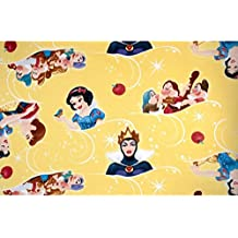 """Pre-cut 2-1/8 Yard - Disney """"SNOW WHITE AND THE SEVEN DWARFS"""" on yellow Fleece Fabric - Officially Licensed (Great for Quilting, Sewing, Craft Projects, Quilt, Blanket & More) PRECUT 2-1/8 Yard"""