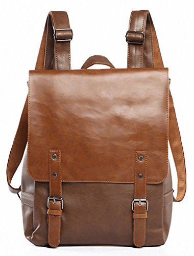 (Kenox Vintage PU Leather Laptop Backpack Knapsack Rucksack Weekender Daypack Bag)