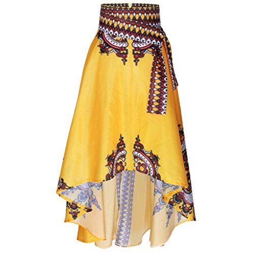 RTYou New Style African Women Printed Summer Boho Long Dress Beach Evening Party Maxi Skirt (Yellow, L) Printed Short Skirt