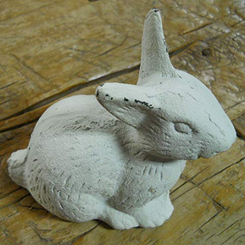 Lot of 2 Cast Iron Easter Bunny Garden Statue Yard Art Home Ranch Decor Rabbit ()