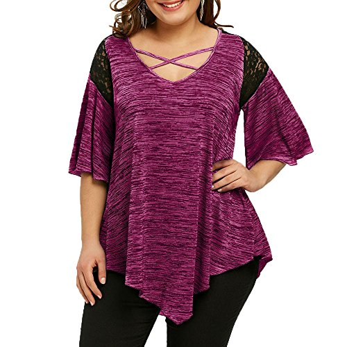 Blouses for Women, Plus Size Flare Sleeve Criss O-Neck Asymmetrical Tunic Lace T-Shirt Blouse Top Hot Pink ()