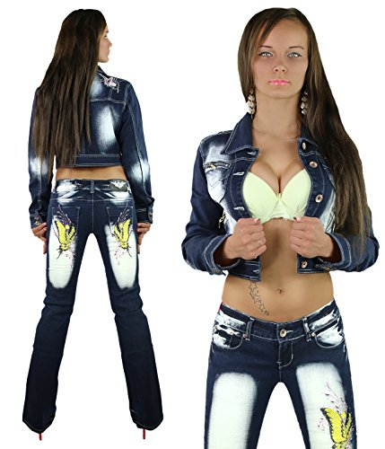 Sexy mujer pantalones vaqueros–Bootcut pantalones Crazy edad talla UK 6, 8, 10, 12, 14–EU 34, 36, 38, 40, 42 Navy Blue/Yellow Butterfly