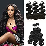 Wigshow 3 Bundles Body Wave Virgin Brazilian Human Hair Weave With Free Part 13x4 Frontal Lace Closure Bleached Knots With Baby Hair (12''14''16''+10'')