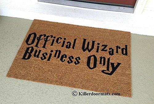 Official Wizard Business Only Coir Funny Doormat, Size Small - Welcome Mat - Doormat - Custom Hand Painted Doormat by Killer Doormats -