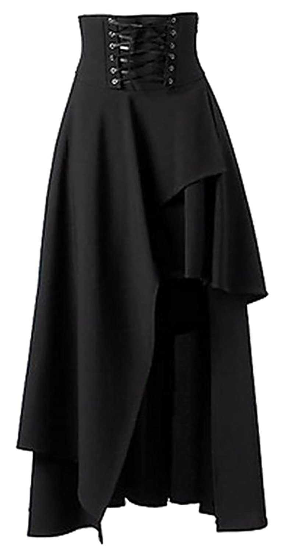Papijam Womens Casual High Waist Irregular Lace Up Gothic Maxi Skirts