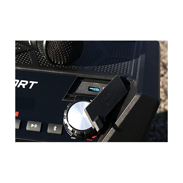 ION Audio Sport - Enceinte 50 W Résistant à l'Eau, avec Batterie Rechargeable Longue Durée, Étanchéité IPX4, Bluetooth, Port USB de Charge, Entrée Aux et Microphone Haute-Définition 4