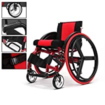 YxnGu Sports & Leisure Wheelchair - Folding Trolley for Disabled & Elderly - Portable Manual Wheelchair - Quick Release & Rear Wheel Shock Absorber