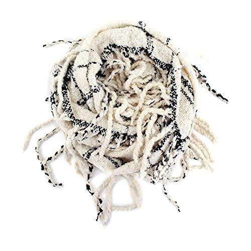 Van Caro Infinity Scarf Plaid Tartan Tassel Circle Scarves for Women Girls, White -