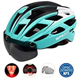 Basecamp Bike Helmet, Light Weight Bicycle Helmet Specialized Cycling Helmet with Removable Visor& Safety Light& Adjustable Liner for Men&Women (Cyan) For Sale
