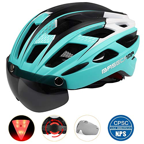 Basecamp Bike Helmet, Light Weight Bicycle Helmet Specialized Cycling Helmet with Removable Visor& Safety Light& Adjustable Liner for Men&Women (Cyan) For Sale