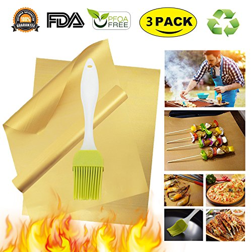 One Barbecue Set (Gold Grill Mat Oven Liners BBQ Baking Mats - 100% Non Stick Best Grill Mats for Charcoal Electric Gas Grills Reusable and Easy to Clean Accessories - FDA Approved PFOA Free Set of 3)
