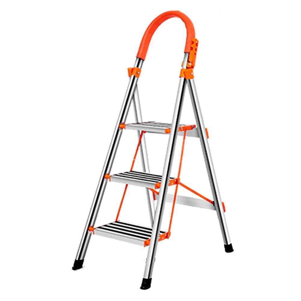 TH 3ステップスツールステンレススチールラダー、家庭用折りたたみ階段スツール、多機能スチールラダーラダースツール、ポータブル屋内ラダー B07F5T3824